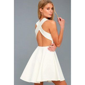 NWT Lulus Going Steady Backless White Skater Dress